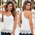 VESTLINDA Summer Women Sexy Sweet Halter Lace Tops Camisole Fashion Lady Sleeveless Tank Tee Backless Tops White Camis Tank Top