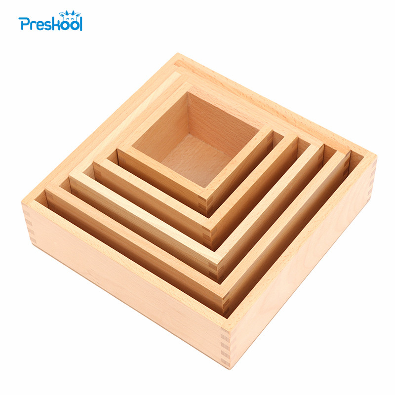 Preskool Montessori Kids Toy For Children Education Wood Boxes Teaching Aids 5 Pcs Brinquedos Juguets