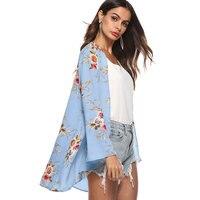 Autumn Chiffon Cardigan 2018 New Women Tops Printing Irregular Casual Camisa Feminina Boho Style Beach Clothes Kimono Cardigan