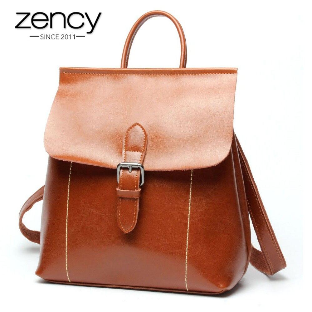 Zency Popular Vintage diseñador de cuero genuino mochila mujer moda mujer mochila chica mochila escolar señoras Laptop bolsas de viaje-in Mochilas from Maletas y bolsas    1