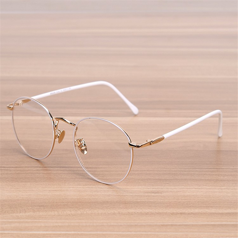 NOSSA Classic Big Round Frame Glasses Women's Vintage Metal White Eyeglasses Female Elegant Eyewear Frames Student Optical Frame
