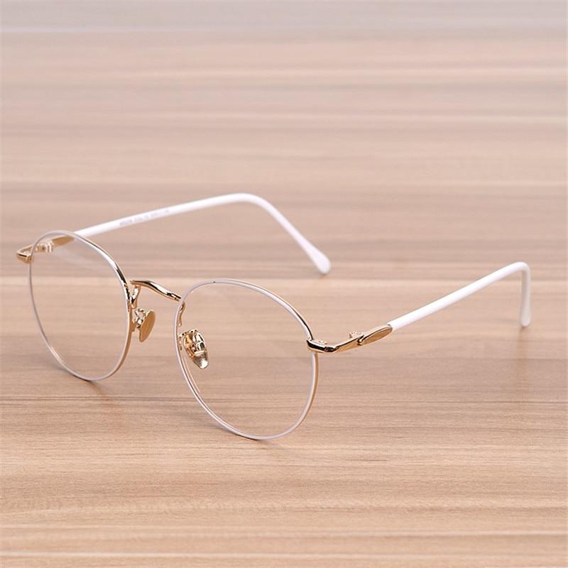 NOSSA क्लासिक बड़ा गोल फ्रेम चश्मा महिलाओं की विंटेज धातु सफेद चश्मा महिला सुरुचिपूर्ण भौंह फ्रेम छात्र ऑप्टिकल फ्रेम