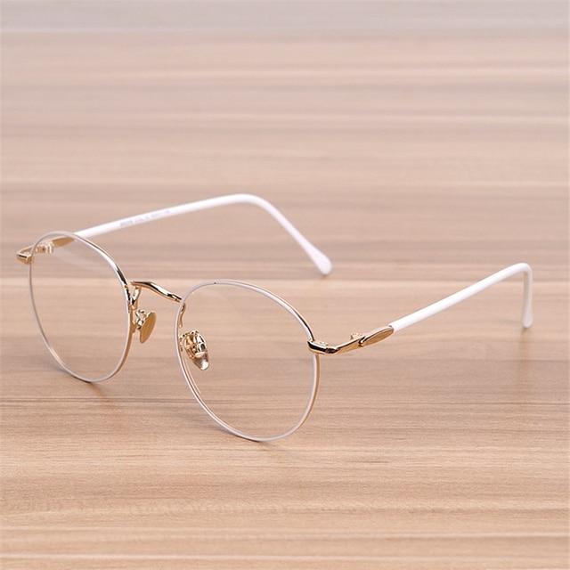 NOSSA Classic Big Round Frame Glasses Women\'s Vintage Metal White ...