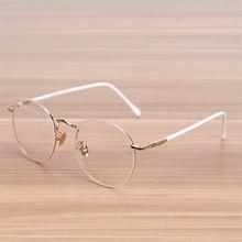 NOSSA Classic Big Round Frame Glasses Women's Vintage Metal White Eyeglasses Female Elegant Eyewear Frames Student Optical Frame