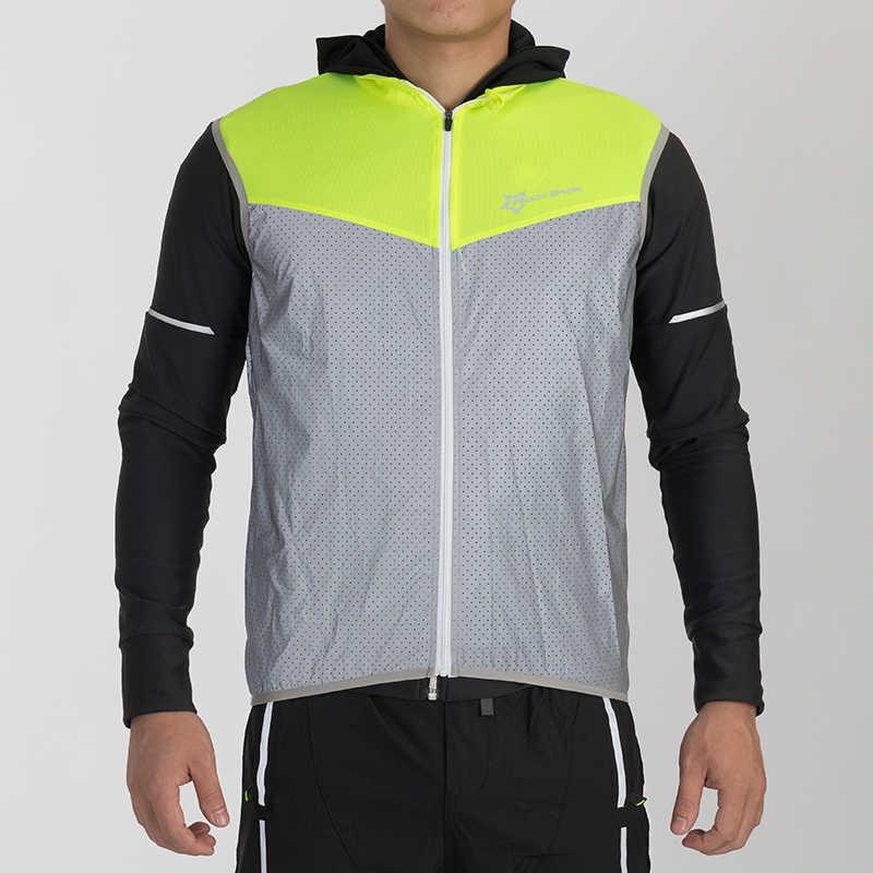 Rockbros 反射サイクリングジャケット男性ノースリーブスポーツ安全走行ベストロードマウンテンバイクジャケット自転車ジャージ風コート