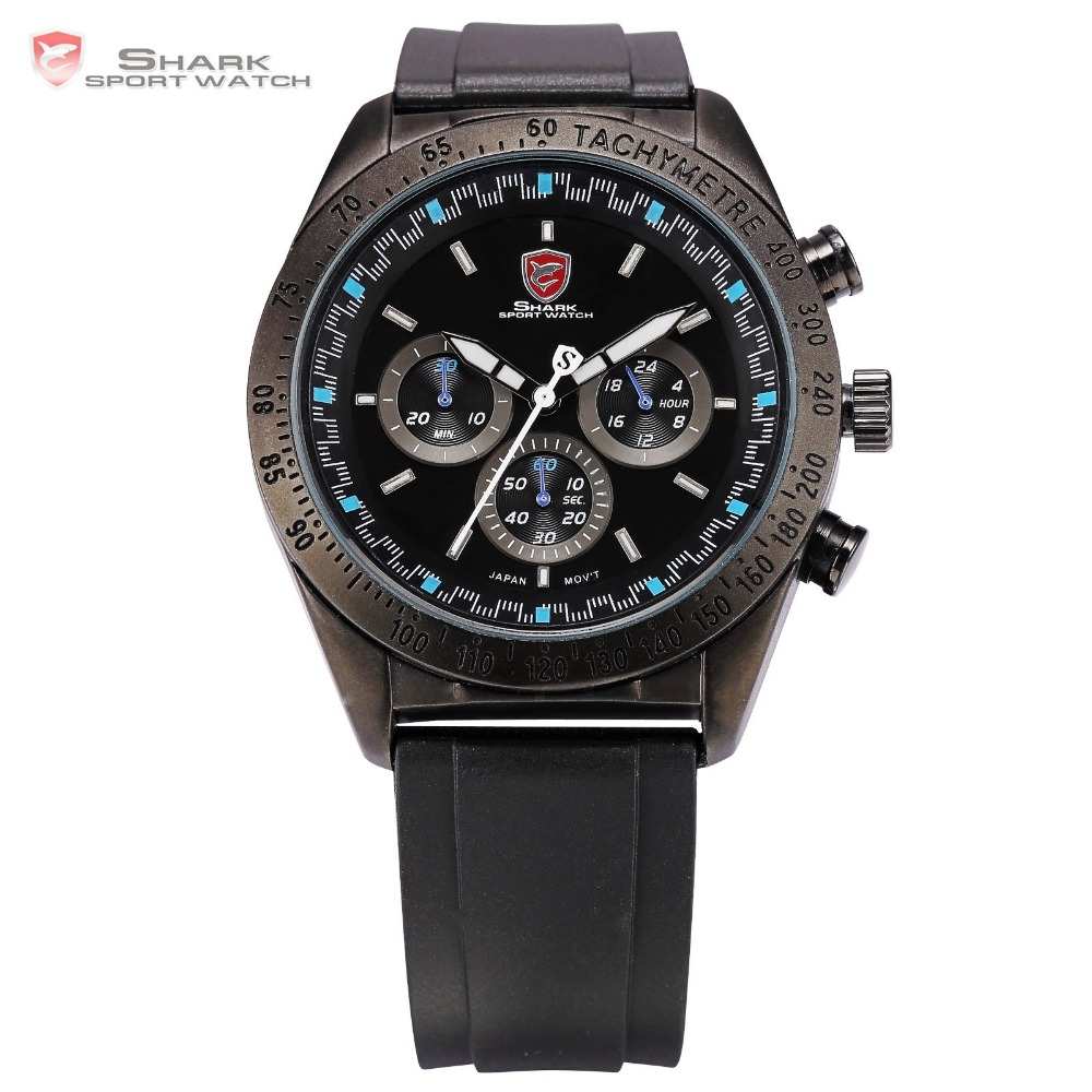 Swell SHARK Sport Watch Tachymeter Bezel Chronograph Black Blue Round Rubber Strap Waterproof Men s Gents