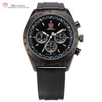 Swell SHARK Sport Watch Tachymeter Bezel Chronograph Black Blue Round Rubber Strap Waterproof Men's Gents Wrist Watches /SH275