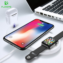 FLOVEME 10W Qi Wireless Charger for iPhone X XS MAX XR Fast Charging Pad 3 in 1 Charger for Apple Watch Airpod Wireless Cargador(China)