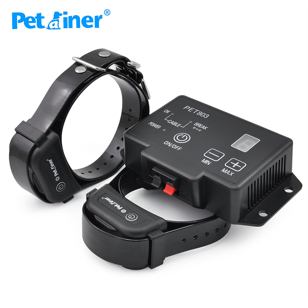 petrainer wireless containment system electric fence dog collar for 2 dogschina