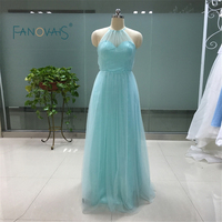 Real Halter Sexy Light Blue Bridesmaid Dresses Custom Made Size A Line Long Maid Of Honor