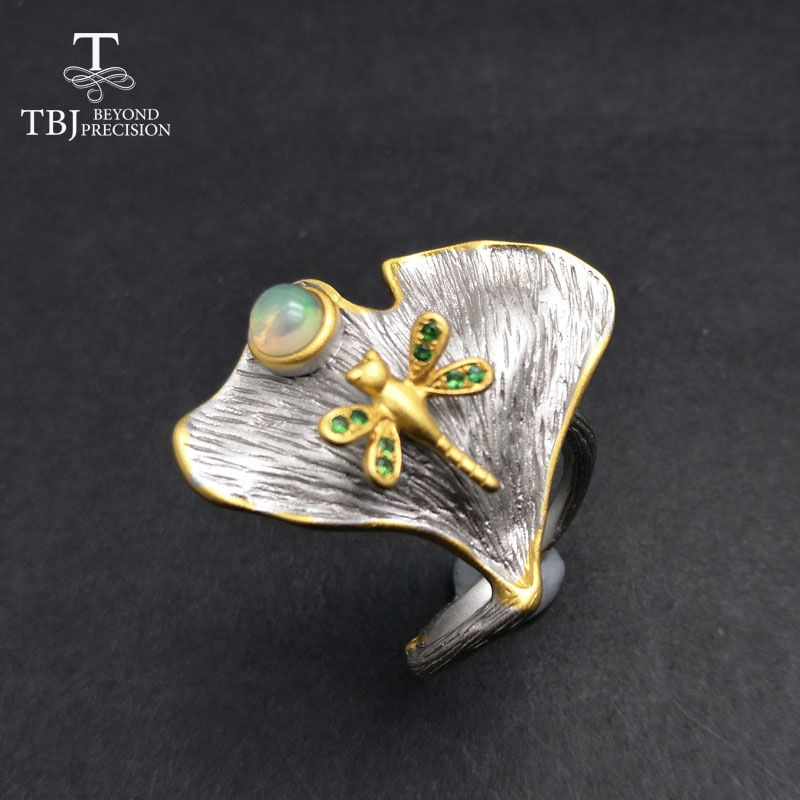 TBJ,100% natural colorful ethiopian opal and tsavorite gemstone vintage ring in 925 sterling silver grey and yellow gold colorTBJ,100% natural colorful ethiopian opal and tsavorite gemstone vintage ring in 925 sterling silver grey and yellow gold color