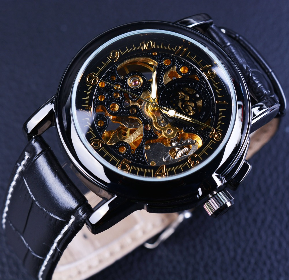 aliexpress com buy orkina luxury clock men leather skeleton aliexpress com buy orkina luxury clock men leather skeleton watch classic retro black golden dial relogio male masculino mechanical automatic watch from