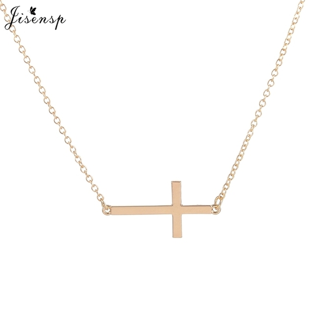 2cc46c35e Jisensp New Fashion Classic Mens Cross Pendant Necklace Simple Link Chain  Necklace Necklace Elegant Women Statement