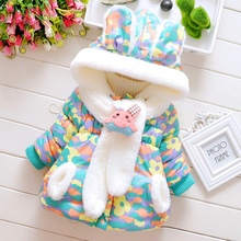 2017 Winter Baby Boys Girls Snow Wear Coat Cute Rabbit Baby Jacket Thick Cotton-Padded Baby Girl Outerwear Zero~three Y