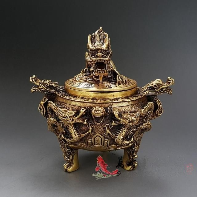 Old Brass incense burner Seven Dragon With Beast Incense Burners Lucky Fengshui