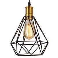 Vintage retro metal cage hanging lamp black Diamonds shape iron lampshade creative pendant lamp for restaurant bar light fixture