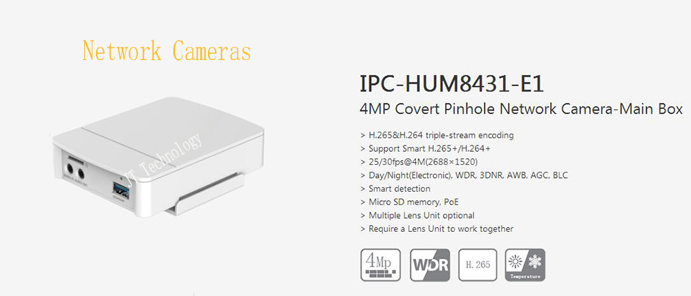 Dahua In Stock Free Shipping NEW Product Security CCTV 4MP Covert Mini Network Camera-Main Unit without logo IPC-HUM8431-E1 4mp poe dahua covert pinhole camera main unit ipc hum8431 e1 h 265 support smart detection and sd card metal case