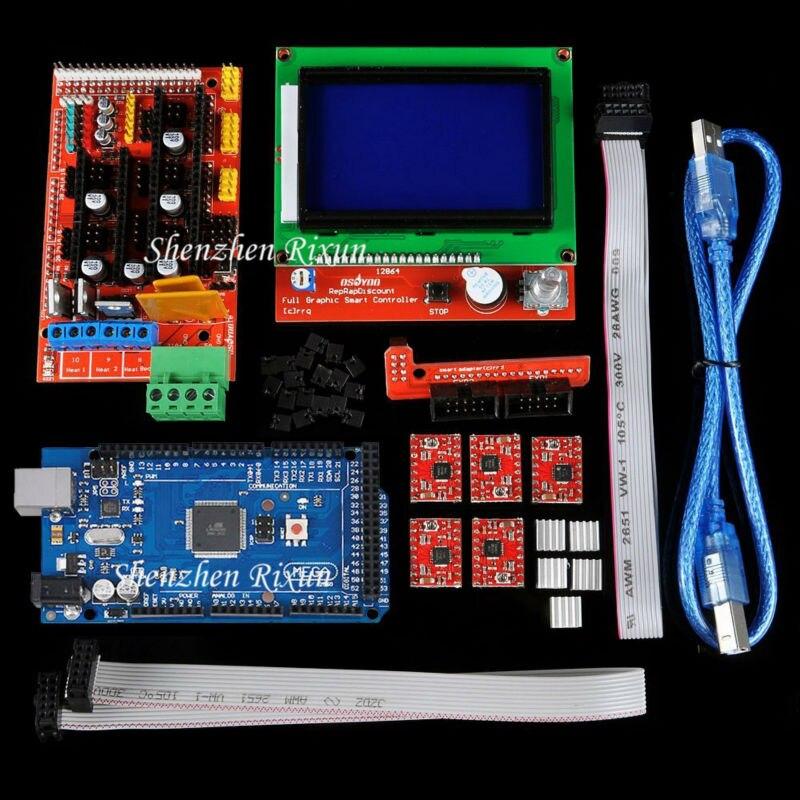 Mega 2560 R3 Mega2560 REV3 Kit imprimante 3D + rampes 1.4 contrôleur + RAMPS1.4 LCD 12864 LCD pour Reprap MendelPrusa livraison gratuite