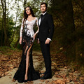 Deep V Mermaid Prom Dress 2016 Long Sleeved High Thigh Slit See Through Lace Appliques Evening Engagement Gown Sexy Lady Dress