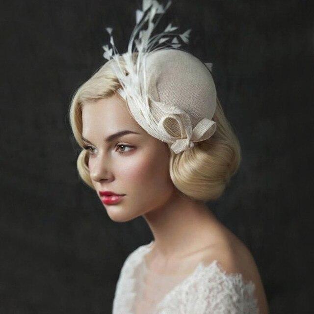 In Stock Linen Bridal Hats Feather Hat For Wedding 2016 European Girls Headwear Beige Women