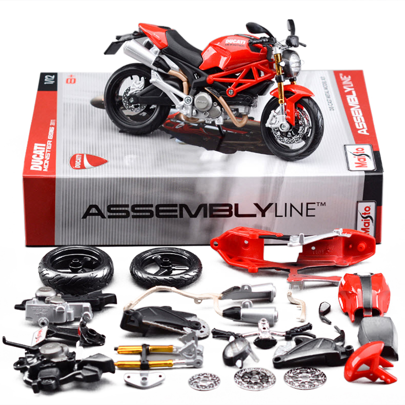 1:12 Maisto Motorcycle Toy, Diecast & Alloy Assembled Motorcycle Car, Ducati 696 Motor Model Kits, Kids Toys, Juguetes Adults
