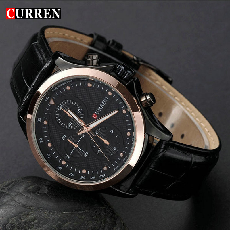 New Fashion brand Curren Black leather strap Business ...