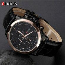 Moda de nueva marca Curren negro correa de cuero Business Casual hombres reloj de cuarzo de oro del reloj caballero hombre cuarzo