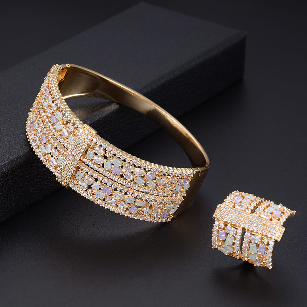 missvikki Famous Brand Trendy Roamntic Women Bangle Ring Jewelry Set Handmade With Full Opal Crystal Noble