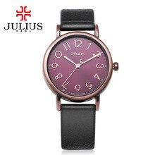 2016 JULIUS Cuarzo de la Marca de la Señora Viste el reloj de Pulsera de Cuero Relojes Mujeres de Lujo Antiguo Cuadrado Mujeres del reloj Relogio Feminino Montre