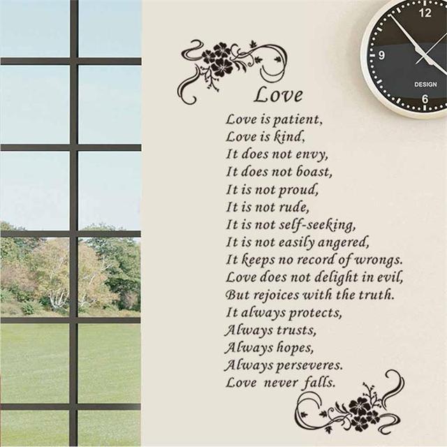 Rodzina Miłość Cytaty Z Kwiaty Naklejki ścienne Winylowe Miłość