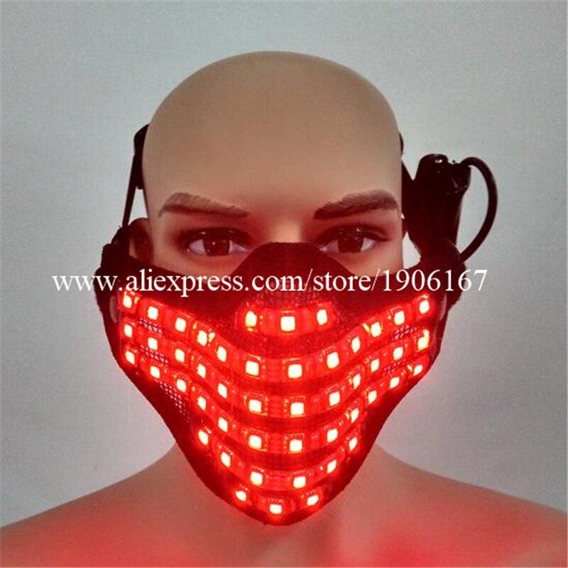 5 Pcs Colorful Led Luminous Mask Glowing DJ Night Club Cosplay Dance Halloween Masquerade Party Masks