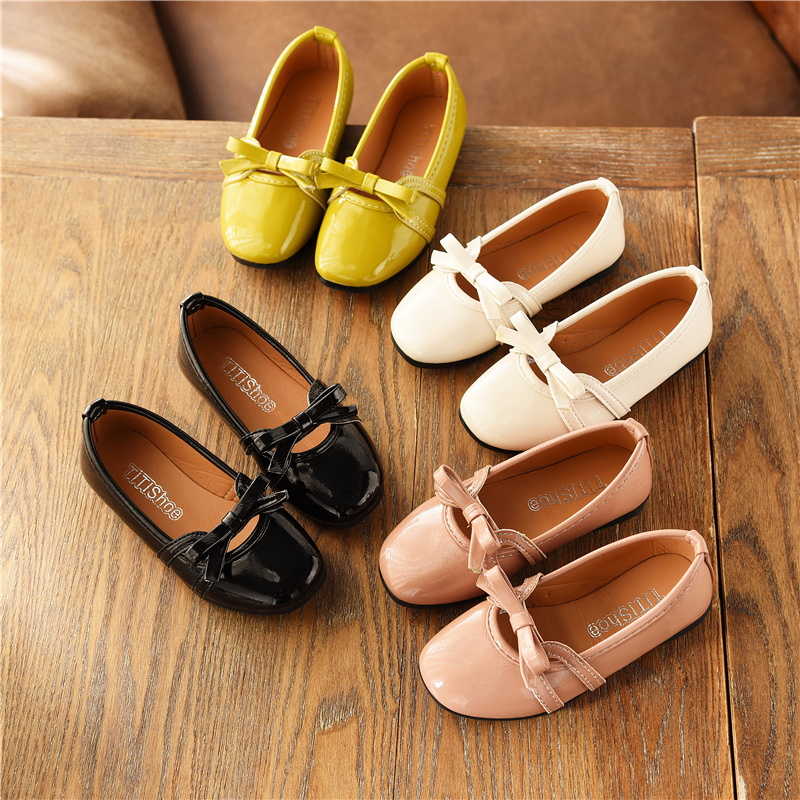 Spring Children Girls Bright Pu Shoes Girls Shoes Flat Bean Casual Shoes 21-36 4colors TB02