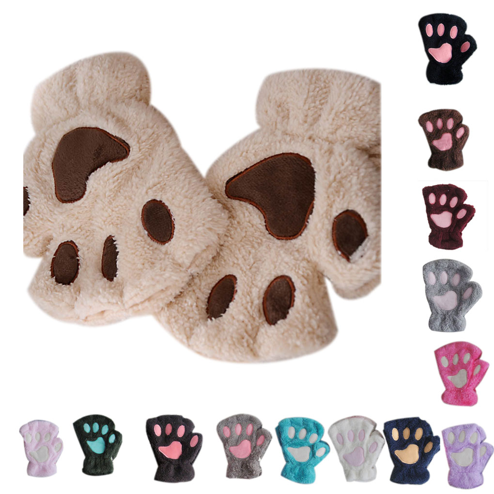 Cat Plush Paw Claw Glove Novelty Halloween Soft Toweling Half Covered Women Mittens Fingerless Gloves