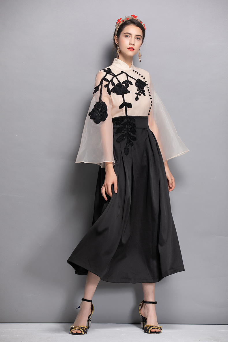 High quality beading mesh dress 2018 autumn runway chinese style elegant dress Chic party dress D411