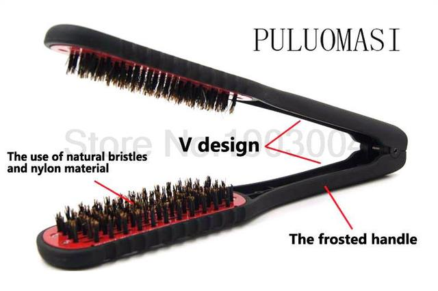Free Shipping Professional Ceramic Hair Straightening Comb Styling Tools Boar Bristle Double Sided Brush Clamp