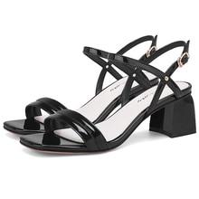 2019 Summer Black Beige Grey Women Sandals 5.5CM Block High Heels Femme Shoes 11813ABX2285