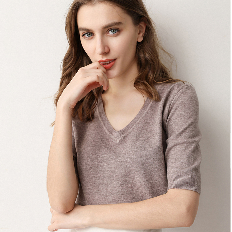 Soft V-neck Sweaters And Pullovers For Women Cashmere Vertical Short Sleeve Spring Autumn Blouse Tops Female Brand Jumper