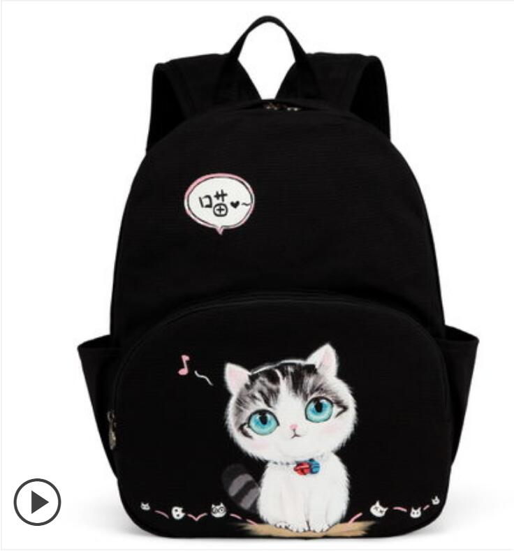 2018 new shoulder bag female school bag students Korean campus canvas backpack hand-painted cat 2017 new painted canvas bag shoulder bag korean version of the travel backpack student bag school bag campus