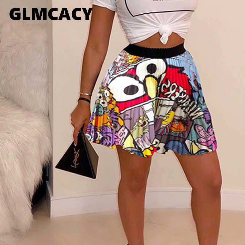 Women Cartoon Printed Pleated Plus Size Skirt Above Knee Mini Harajuku High Waist Streetwear Fashion Music Festival Clothing