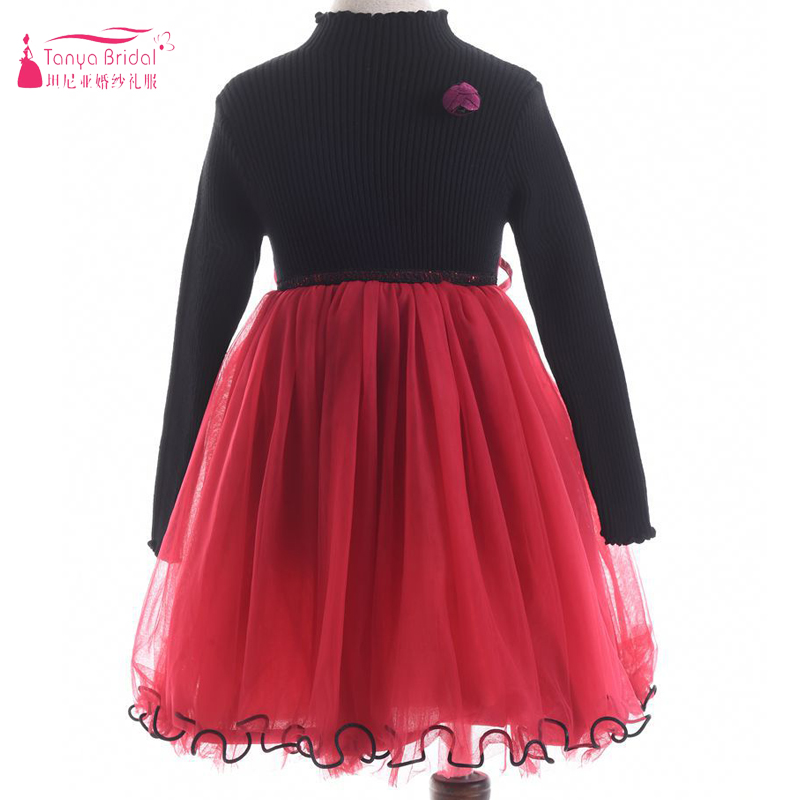 Black And Red   Flower     Girls     Dresses   2018 Long sleeve Two Tone   Girls   Party   Dresses   Casual Wear ZF058