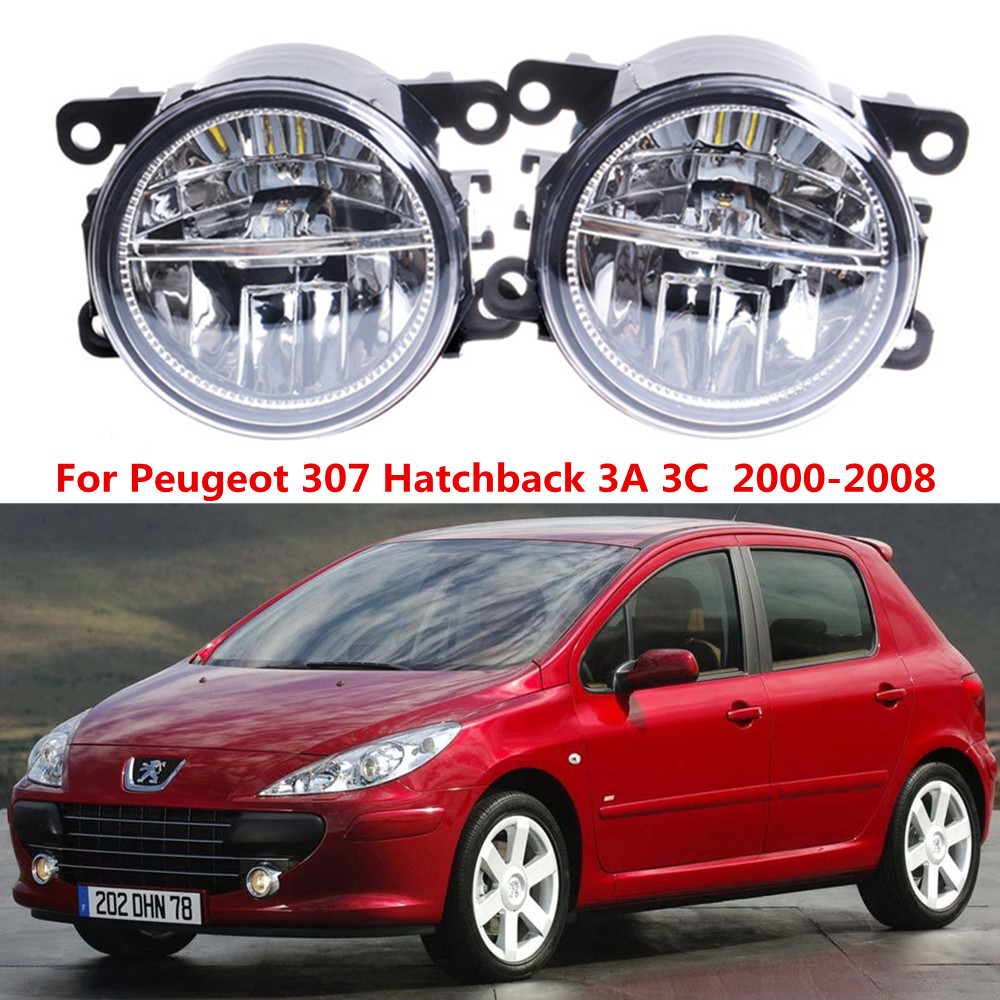 For Peugeot 307 Hatchback 3A 3C  2000-2008 10W Front bumper LED fog lights Car styling drl led daytime running lamps 1SET smart home us au wall touch switch white crystal glass panel 1 gang 1 way power light wall touch switch used for led waterproof