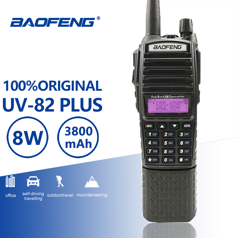 Baofeng UV 82 Plus Walkie Talkie 10KM Dual PTT 3800mah Battery Dual Band UV 82 Portable HF Transceiver Ham CB Radio Station UV82