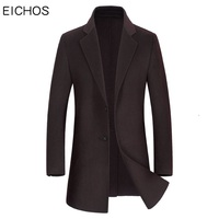 EICHOS New Brand Handmade Men Coat Wool Double sided Cashmere Coat Winter Casual Solid Color Mens Wool Long Coats NZY308A