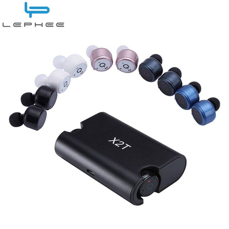 LEPHEE Wireless Earphones Super Mini X2T Twins Bluetooth Earphone In-Ear Earpieces Microphone Bluetooth Headset+Charger For Mi 6