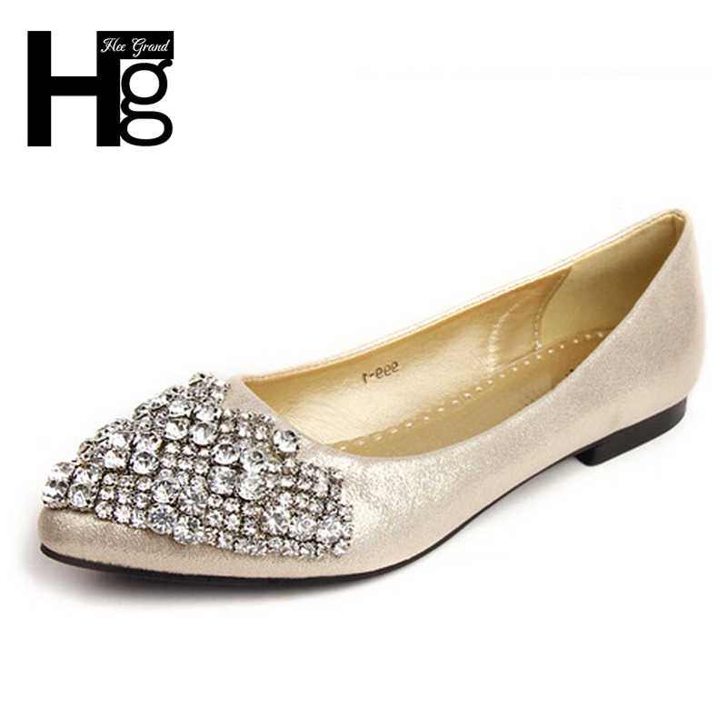 00aac5da3 HEE GRAND Glitter Women Crystal Flats Slip On Casual Shoes Comfortable  Round Toe Flat Shoes Woman