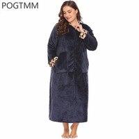 Big Size Caldo Inverno Zipper Donne Accappatoio Lungo Accappatoio Leopardo Vestaglia Vestaglia Da Notte Tasca Femminile Femme Più 5XL