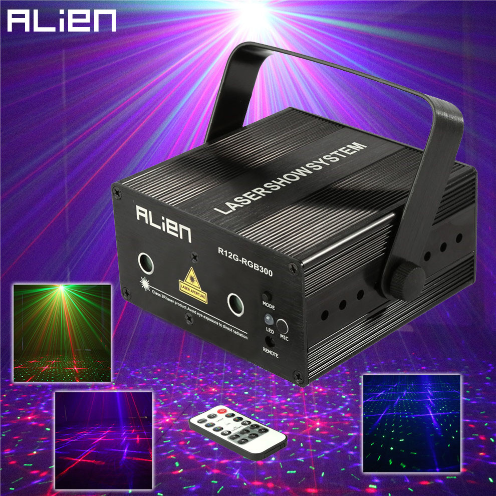 ALIEN 300mW RGB Stage Lighting Effect DJ Disco Party Home Wedding Laser Projector Light Xmas Remote Laser System Show Lights mini 300mw rgb laser stage lighting effect red green blue mixing dj disco light bar party xmas laser projector show lights