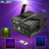 ALIEN 300mW RGB efekt oświetlenia scenicznego DJ Disco Party ślub w domu projektor laserowy światło boże narodzenie pilot zdalnego systemu laserowego pokaż Lights w Oświetlenie sceniczne od Lampy i oświetlenie na