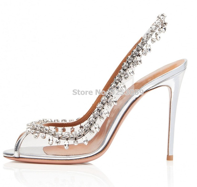 e200cb7ac438b0 ALMUDENA Graceful Silver Clear PVC Crystal Wedding Shoes Open Toe Elastic  Band Slingback Fringe Shoes Bling Bling Rhinestone