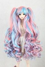 BJD doll wig can be multi color gradient double hair tail volume cosplay wigs wholesale FBE139